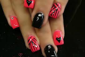 print pink nail designs acrylic nails