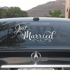 Amazon Com Just Married 10x22 Vinyl Lettering Wall Decal Sticker Art Home Decor Home Kitchen