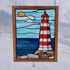 nova scotia lighthouse stained glass