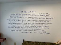 Man In The Arena Large Wall Decal Theodore Roosevelt Quote Inspirational Quote Office Wall Decal Success Wall Art