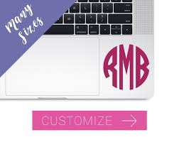 Monogram Decal For Laptop Computer Monogram Decal Laptop Etsy