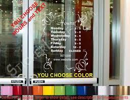 Store Hours Custom Window Decal Business Shop Storefront Door Etsy