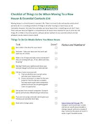 checklist of things to do when moving to a new house