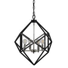 4 light black metal geometric pendant