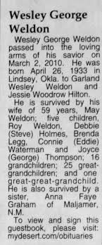 Obituary for Wesley George Weldon, 1933-2010 - Newspapers.com