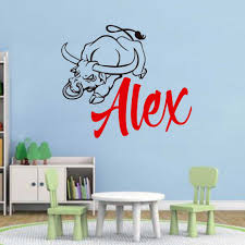 Personalized Name Angry Bull Wall Decal Sticker Nursery For Home Decor Krafmatics