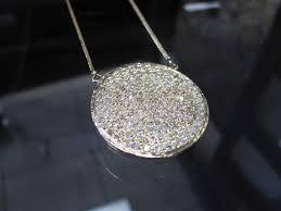 14k gold big round circle pave pendant