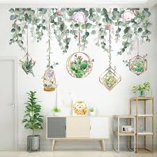 Mega Sale 58097 Shijuekongjian Green Leaves Wall Stickers Diy Succulents Plants Wall Decals For Living Room Bedroom Kitchen House Decoration Cicig Co