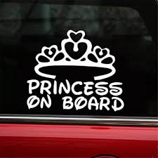 Amazon Com Hungmieh Princess On Board Sticker For Car Window Windshield And Body Die Cut Vinyl Kids Safety Stickers And Signs Baby Girl On Board Decal Silver 7 X5 7 Automotive