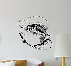 Fishing Wall Decal Fish Hook Rod Vinyl Sticker Fisherman Gift Decor Poster 481 Ebay