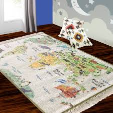 Silk Carpet Kids Collection World Map In Kids Room Rug 3x5 Feet 90 X 150 Cms Avioni