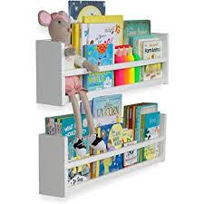 Amazon Com Brightmaison Nursery Decor Wall Shelves 2 Shelf Set Wood Floating Bookshelves For Baby Kids Room Book Organizer Storage Ledge Display Holder For Toys Cds Spice Rack Ships