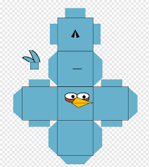 Paper model Angry Birds Angle, Angry Birds blue, angle, vertebrate ...
