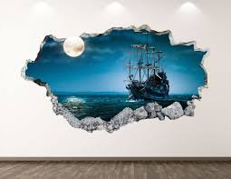 Pirate Ship Wall Decal Ocean Boat 3d Smashed Wall Art Etsy