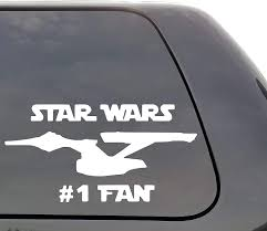 Amazon Com Star Wars 1 Fan Vinyl Decal Star Trek Enterprise Ncc 1701 Funny Sci Fi Wall Window Door Car Truck Home Kitchen