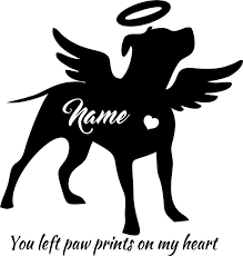 Pitbull Decal Personalized Silhouette Angel Wings And Halo Etsy In 2020 Pit Dog Angel Decals Angel Silhouette