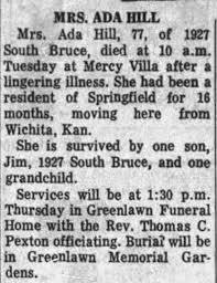 Obituary for ADA BILL Hill (Aged 77) - Newspapers.com