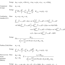 a mass and energy balance equations