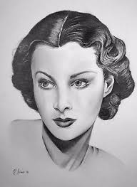 """VIVIEN LEIGH,ORIGINAL GRAPHITE Pencil Drawing by Adriana Holmes  9""""x12"""",signed - $60.00 