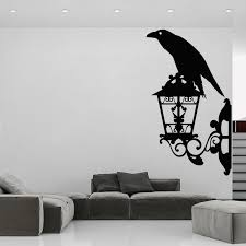 Crow Wall Stickers Black Raven Vinyl Decal Bird Lantern Home Decor Street Style Mural Removable O248 Wall Stickers Aliexpress