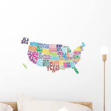 Usa State Map Word Wall Decal Wallmonkeys Com