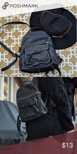 black backpack purse faux leather purse