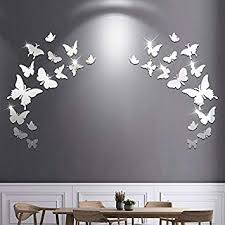 silver erfly acrylic wall stickers