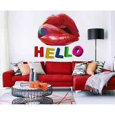 Shop Sexy Lips Polygonal Wall Decal Hello Overstock 32145697