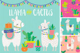 Llama Cactus Clipart Fondos De Bebes Alpacas Ilustraciones