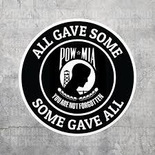 Pow Mia Veteran Vinyl Decal Sticker Prisoner Of War Etsy