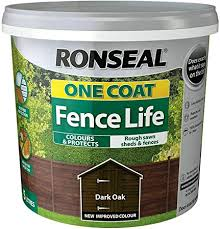 Ronseal 5l One Coat Life Quick Dry Garden Shed Fence Paints 5 Litres All Colours Dark Oak Amazon Co Uk Diy Tools