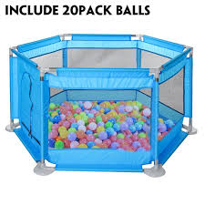 Playpen For Baby Deluxe Extra Large Kids 6 Panel Portable Play Yard Indoor And Outdoor Playpen Fence Playmat Breathable Mesh With 20 Colorful Balls Walmart Com Walmart Com