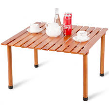 costway wood roll up portable table for