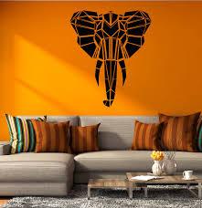 Vinyl Wall Decal Abstract Geometric Elephant Head Polygon African Anim Wallstickers4you