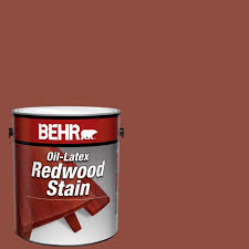Behr 1 Gal Redwood Solid Color Oil Latex Exterior Wood Stain 00901 The Home Depot
