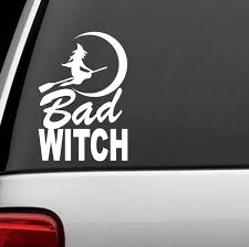 For Bad Witch Moon Broom Decal Sticker Greek Triple Goddess Pagan Wiccan Rear Window Car Sticker Wish