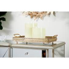 metallic gold mirror vanity trays