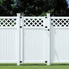 6 Ft X 3 1 2 Ft Lewiston Lattice Top Vinyl Unassembled Fence Gate 181972 The Home Depot Fence With Lattice Top Garden Fence Panels Vinyl Gates