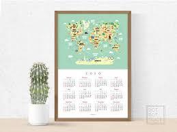 Printable World Map Calendar 2020 Calendar For Kids Kid S Etsy
