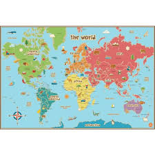 Wall Pops Kids World Map Wall Decal Wpe0624 The Home Depot