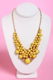 Pretty Yellow Necklace - Statement Necklace - Bubble Necklace - $19.00