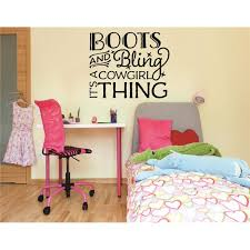 Custom Wall Decal Vinyl Sticker Boots Bling Its A Cowgirl Thing Quote Living Room Bedroom Home 16x16 Walmart Com Walmart Com