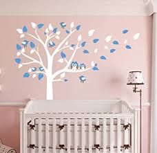 Amazon Com Aliqing Nursery Wall Decals White Tree Wall Decals Owls Birds Wall Stickers Vinyl Mural Art For Baby Nursery Kids Room Decoration Blue Baby