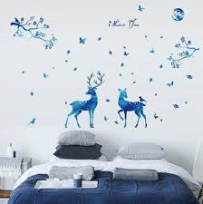 Blue Moonlight Elk Deer Wall Decal Leaves Tree Branch Birds Butterfly Vinyl Stickers I Love You Quotes Signs Home Art Mural Buy Deer Wall Decals Birds Wall Decals 3d Wall Sticker Product On