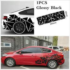 1pc 78x23in Car Body Side Decal Geometric Triangle Graphics Sticker Glossy Black Ebay