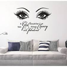 Beauty Eyes Wall Decals Salon Girl Eyes Quote Decor Sticker A Girl Should Be Two Things