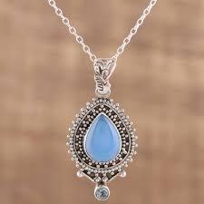 blue chalcedony pendant necklace