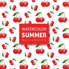 خلفيات الصيف مع ألوان مائية من الكرز الأحمر الصيف الموسم