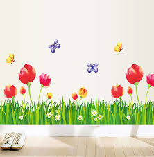 Tulip Flower Grass Wall Stickers Flowers Tree Wall Decals