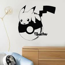 Pikachu Vinyl Wall Decal For Kids Room Pokemon Wall Stickers For Living Room Funny Art Decor Bedroom Modern Home Decoration W656 Wall Stickers Aliexpress